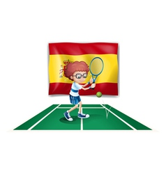 A boy playing tennis in front of the flag of spain vector