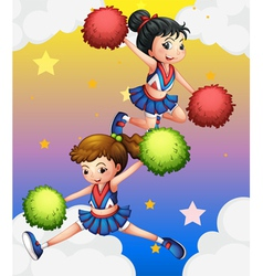 Two cheerdancers vector
