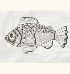 Funky fish on crumpled paper texture vector