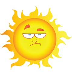 Lowering sun cartoon character vector