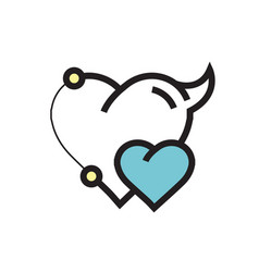 Two heart devil pen tool style blue vector