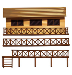 wooden house and fences vector image