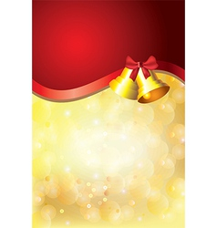 Gold christmas background bells red stripe vector