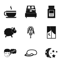 Time to sleep icon set simple style vector