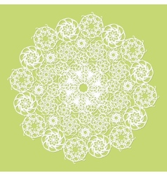 White lace serviette on green background vector