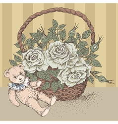 Teddy bear rose vector