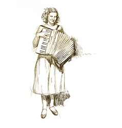 Woman with accordion vector