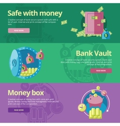 Set of flat design concepts for safe and money vector