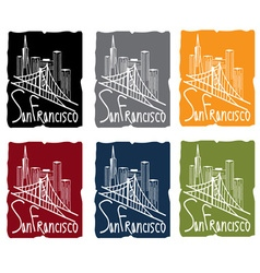 San francisco skyline sticker set vector