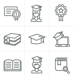 Line icons style education icons set vector