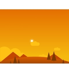 Wallpaper landscape of desert mountains and sun vector