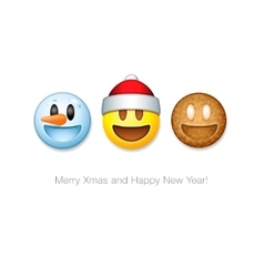 Holiday emoticon set icons christmas emoji symbol vector