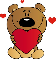 Teddy bear holding a red heart vector