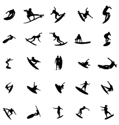 Surfer silhouette set vector image
