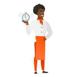 African-american chef cook holding alarm clock vector