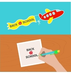Back to school banner set hand writing drawing vector