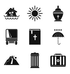 Beat nature icons set simple style vector