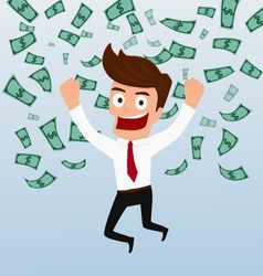 Businessman happy with money flowing in the air vector