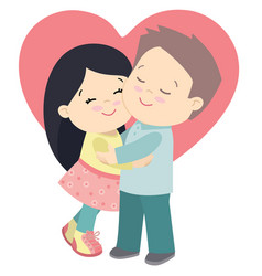cute little girl and boy hugging valentines day vector image vector image