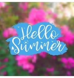 Floral background with lettering hello summer vector