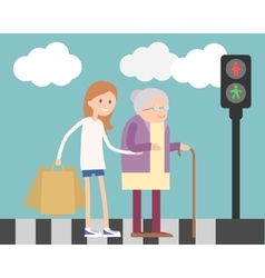 Girl helping old woman vector image vector image