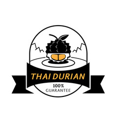 Golden thai durian meat gaurantee logo vector