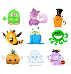 halloween monsters pack vector image
