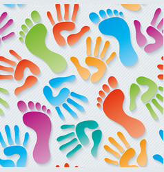Handprints amp footprints 3d seamless wallpaper vector