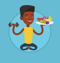 healthy man with fruits and dumbbell vector image