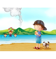 Kids swimming and a boy and his pet at the vector image vector image