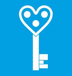 Love key icon white vector