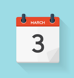 March 3 Calendar Flat Daily Icon vector image