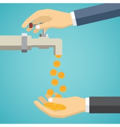 Money flows from the tap to hand vector image vector image