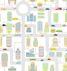 Morning city seamless pattern Texture Cartoon cute vector image