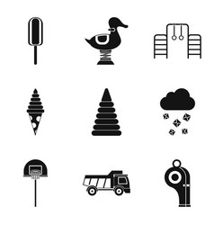 old children toys icons set simple style vector image vector image