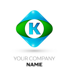 Realistic letter k logo in colorful rhombus vector