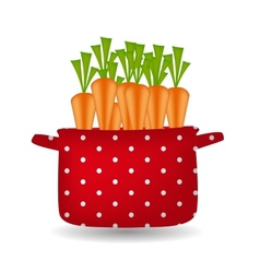 Red pot with carrots Organic diet healthy food vector image