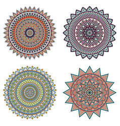 Set of color floral mandalas vector