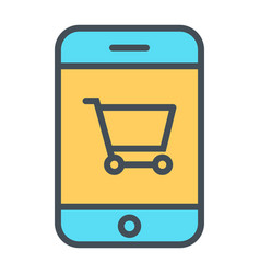 smartphone with shopping cart thin line icon 48x48 vector image vector image