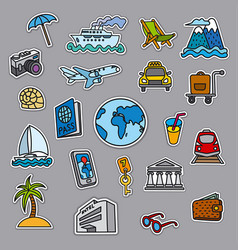 Travel concept stickers vector
