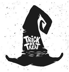 trick or treat witch hat with lettering halloween vector image