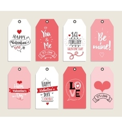 Valentines day gift cards labels and stickers vector