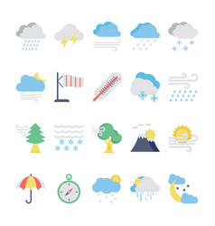 weather flat colored icons 2 vector image vector image