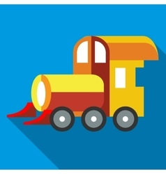 Yellow toy train icon flat style vector
