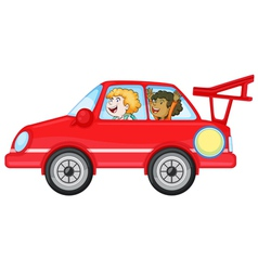 girls in a car vector image