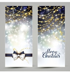 Two christmas greeting cards with bow and garlands vector