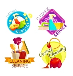 Cleaning service badge set vector