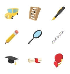 University icons set cartoon style vector