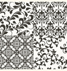 4 seamless vintage floral patterns vector