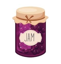 Sweet black currant purple jam glass jar filled vector